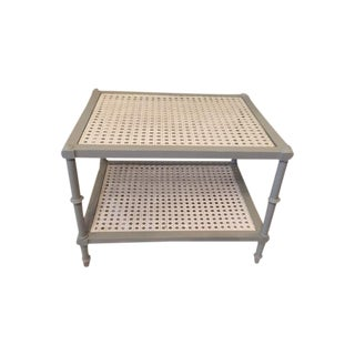 Two Tier Wicker Table With Glass Top
