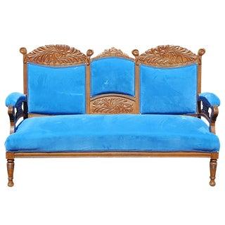 Antique Victorian Blue Velvet Loveseat