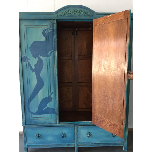 1920's Hand Painted Mermaid Armoire - Image 3 of 5