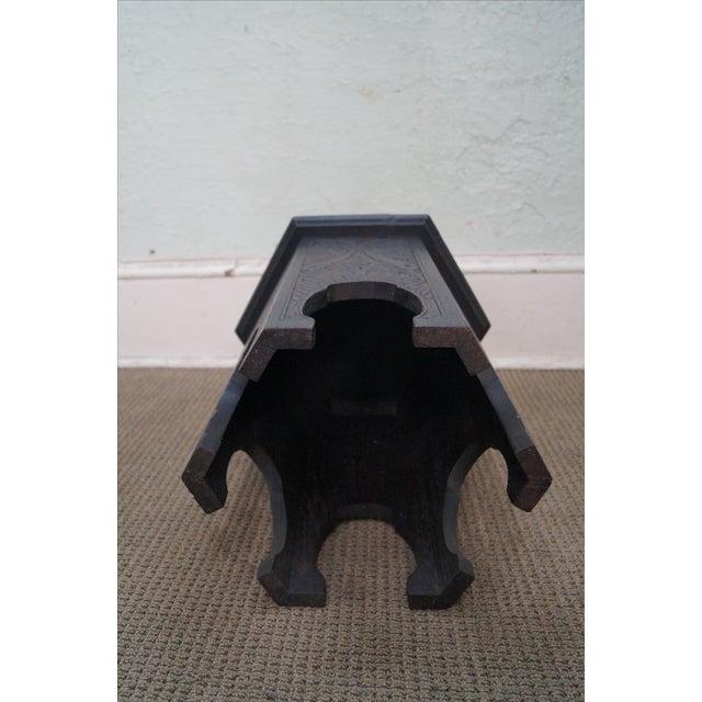 Antique Incised Carved Oak Taboret Side Table - Image 7 of 10