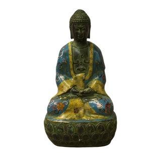 Chinese Metal Blue Enamel Cloisonne Sitting Buddha Statue