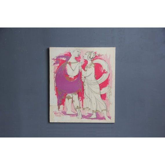 Bjørn Wiinblad Pink & Gold Mounted Print - Image 2 of 5