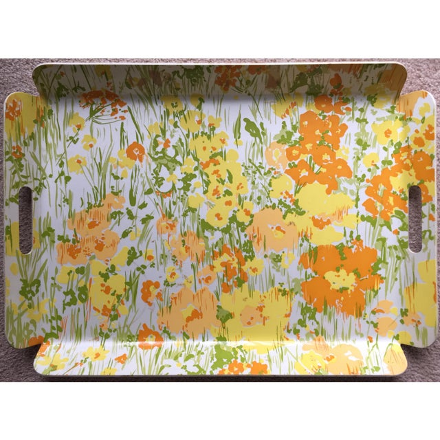 """Vintage D. Porthault 22""""Yellow Floral Tray - Image 2 of 4"""