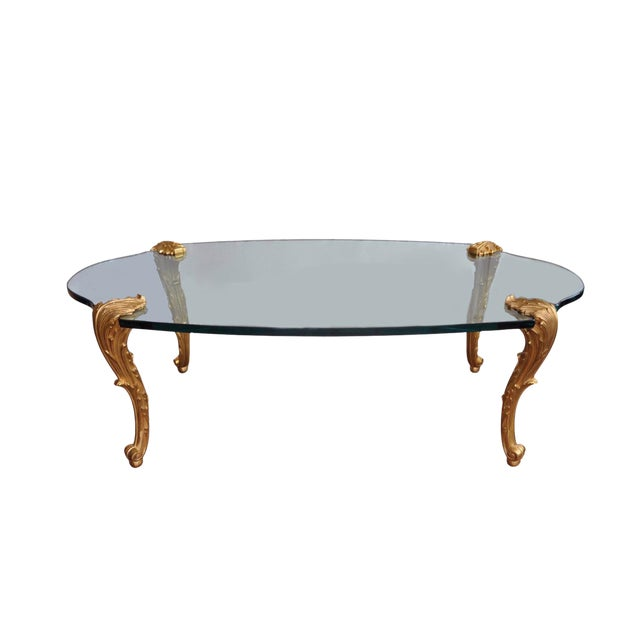 Louis XV Glass Top Coffee Table - Image 1 of 5