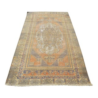 Vintage Turkish Handwoven Rug - 3′10″ × 7′3″