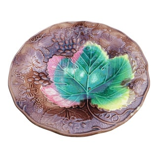 Antique Majolica Vine and Strawberry Plate