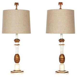 19th-C. Italian Candlestick Lamps - A Pair