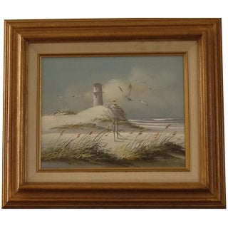 Framed Lighthouse Painting