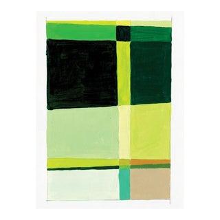 Contemporary Green Mixed Media Painting