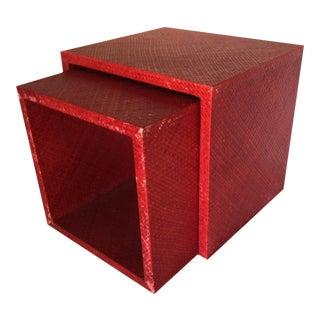 Vintage 1970s Cinnibar Nesting Tables - A Pair