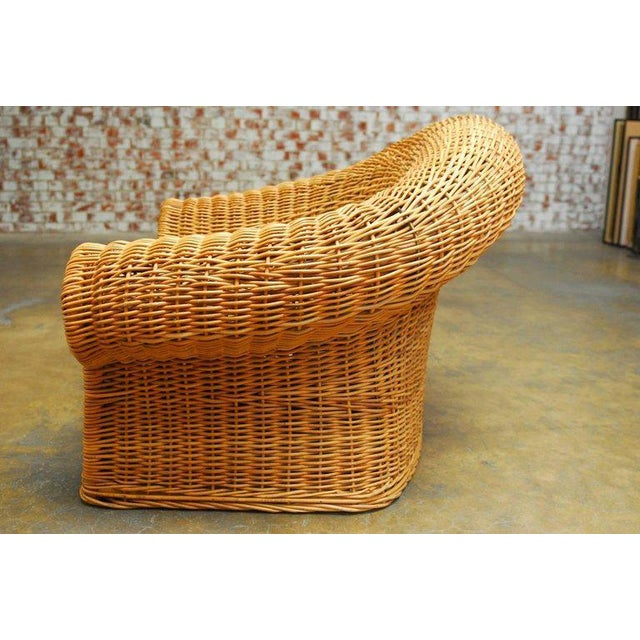 Michael Taylor Inspired Wicker Lounge Chair and Ottoman - Image 6 of 11