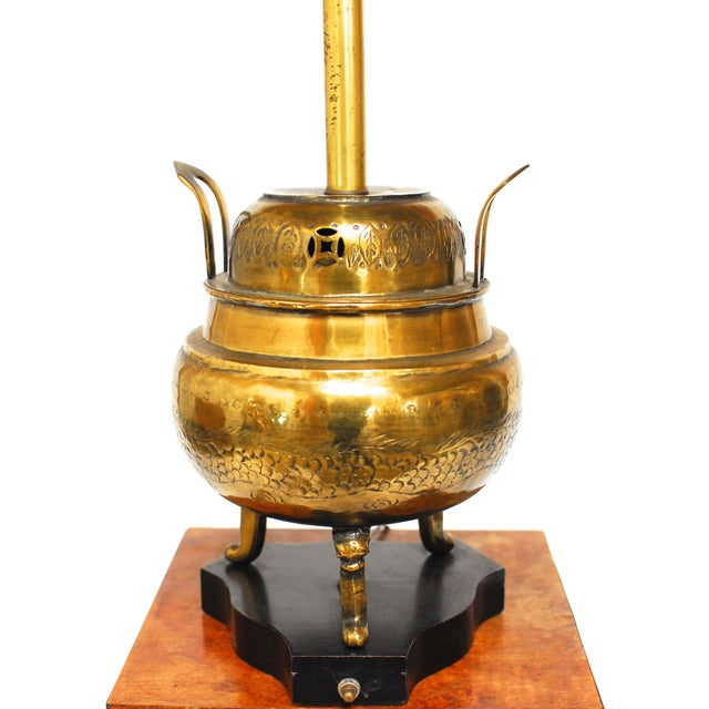Chinese Incised Brass Urn Table Lamp - Image 3 of 5
