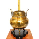 Image of Chinese Incised Brass Urn Table Lamp