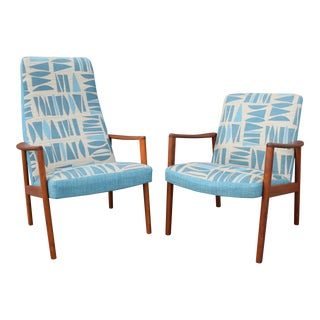Vintage Danish Mid-Century Modern Teak Lounge Easy Chairs - A Pair