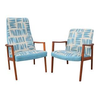 Vintage Danish Mid-Century Modern Teak Lounge Easy Chairs - A Pair