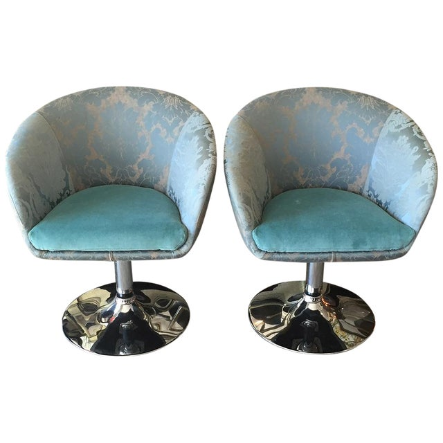 Image of Vintage Custom Teal Swivel Chairs - A Pair