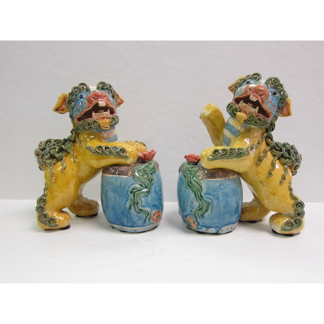 Vintage Bright Colored Foo Dogs With Drums - Pair - Image 2 of 6