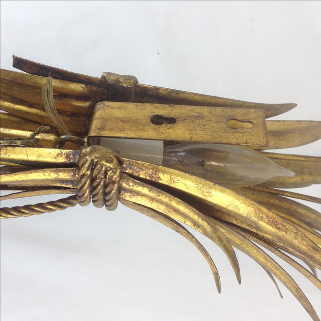 Hollywood Regency Gold Wheat Sconces - Pair - Image 6 of 7