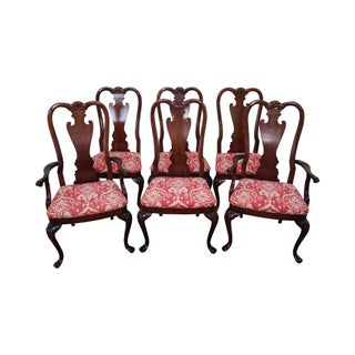 Mahogany Shell Carved Queen Anne Style Dining Chairs - Set of 6