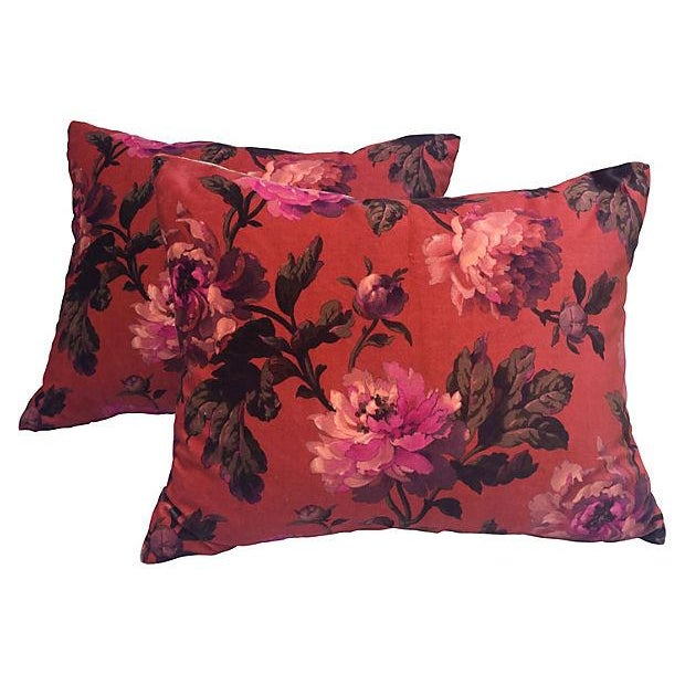 House of Hackney Floral Velvet Pillows - A Pair - Image 1 of 4