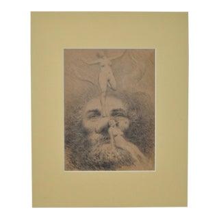 "Granville Redmond ""Figural Nude Fantasy"" Drawing c.1920s"