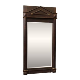 Wood Framed Arched Peaked Mirror With Beveled Glass