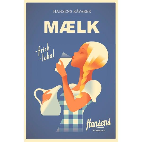 Contemporary Mads Berg Poster, Hansen's Maelk - Image 1 of 2