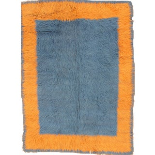 Blue & Orange Tulu Turkish Rug - 6' X 8'