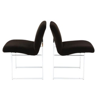 PAIR OF MILO BAUGHMAN CHROME AND MOHAIR SIDE CHAIRS