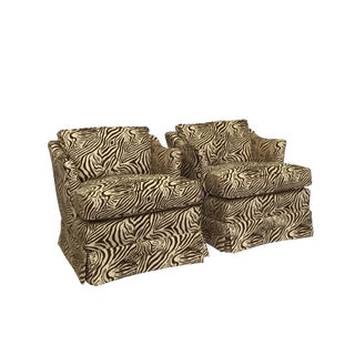 Zebra Print Lounge Chairs - A Pair