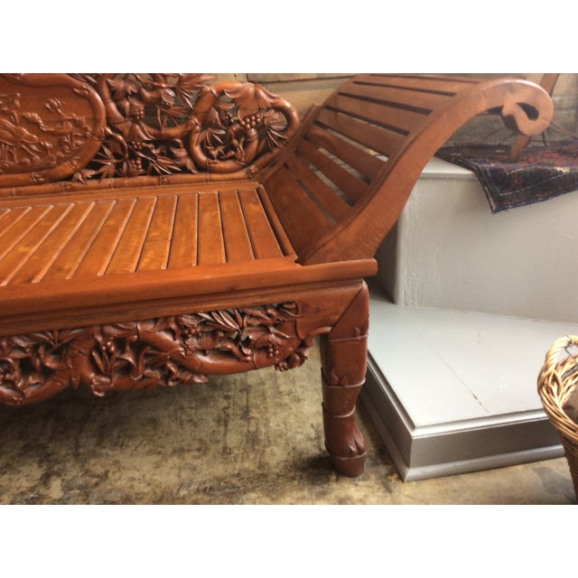 Vietnamese Hand Carved Wood Chaise Lounge Chairish
