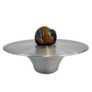 Designer Aluminum Coffee Table With Wooden Decorative Sphere