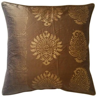 Chocolate & Gold Silk Pillow Cover
