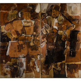 Abstract Expressionist Diptych by Hilda O'Connell, 1965