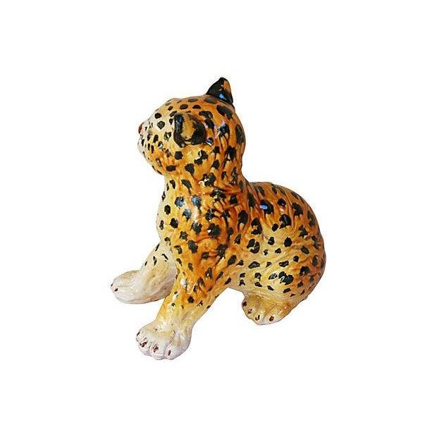 Hand-Painted Italain Terracotta Cheetah - Image 3 of 7