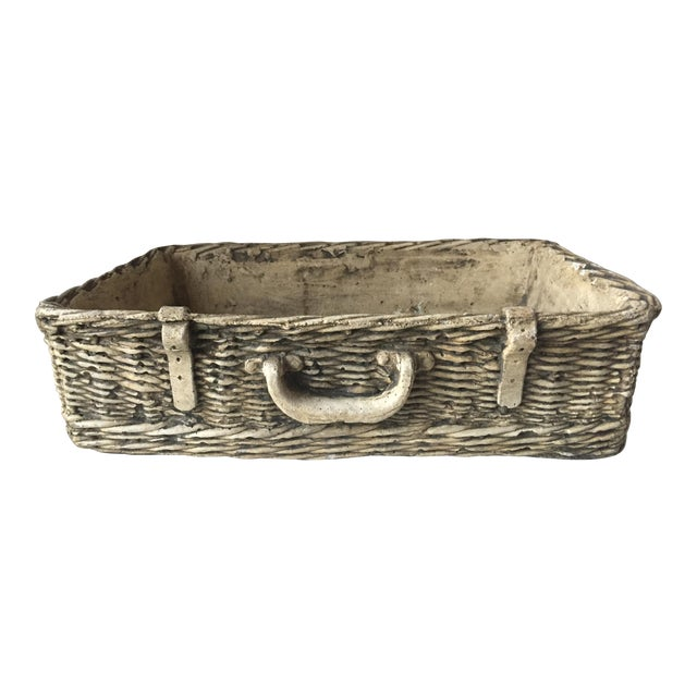 Vintage Concrete Basket Planter - Image 1 of 6