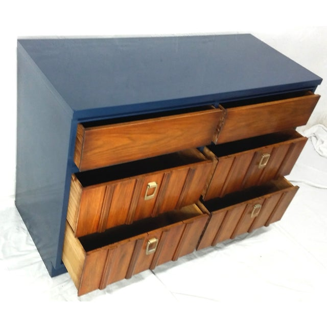 Mid-Century Mahogany & Blue Lacquered Dresser - Image 4 of 5