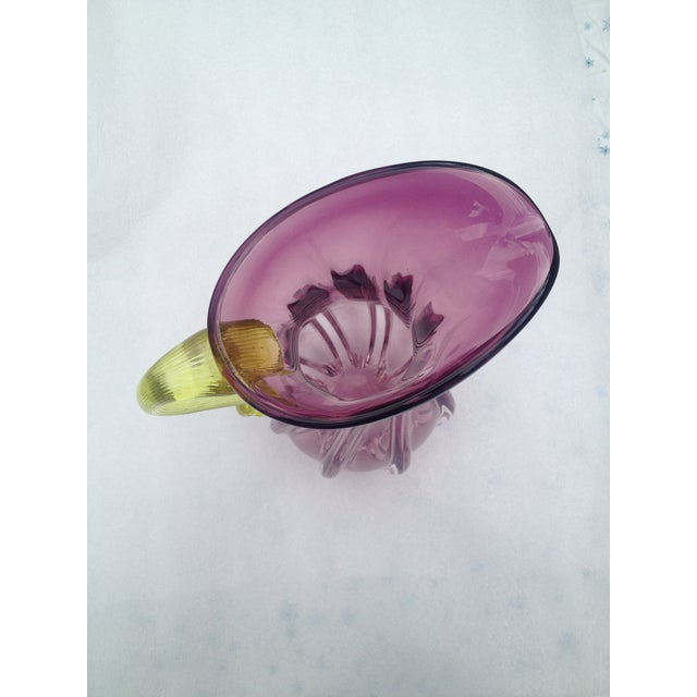 Bohemian Purple & Yellow Glass Handmade Pitcher - Image 3 of 4