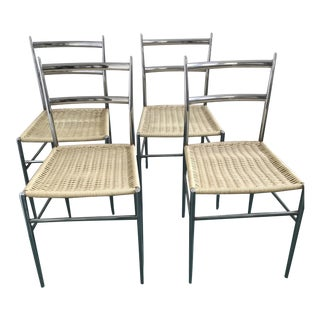 Gio Ponti Inspired Woven Dining Chairs - Set of 4