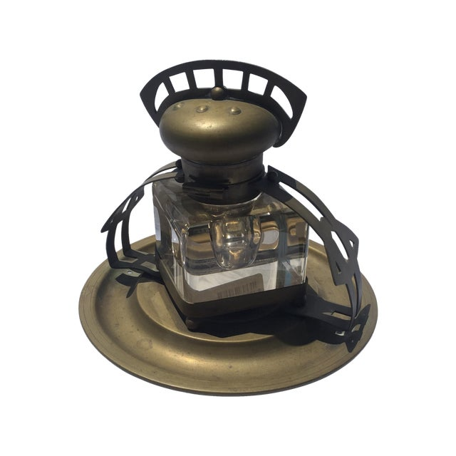 Image of Brass & Crystal Inkwell