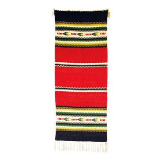 """Vintage Red Southwestern Wool Rug - 1'4"""" x 3'4"""""""