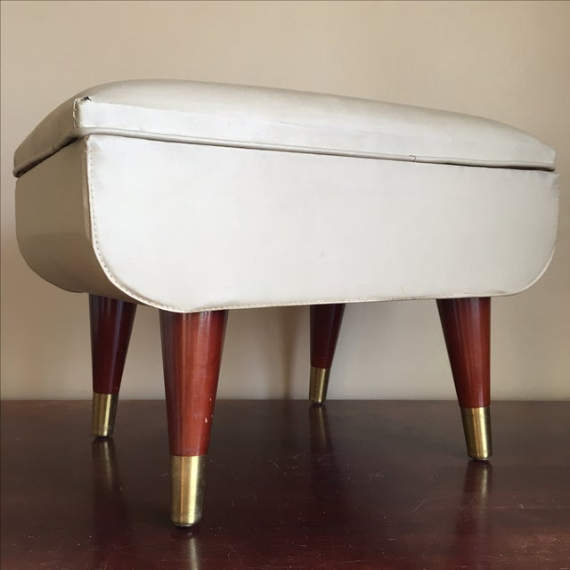 Image of Mid-Century Sewing Stool with Storage