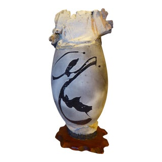 Large Paul Soldner Raku Vase Early Aspen Period