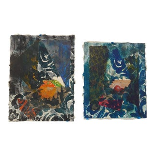 Martha Holden Original Abstract Collage Paintings - A Pair