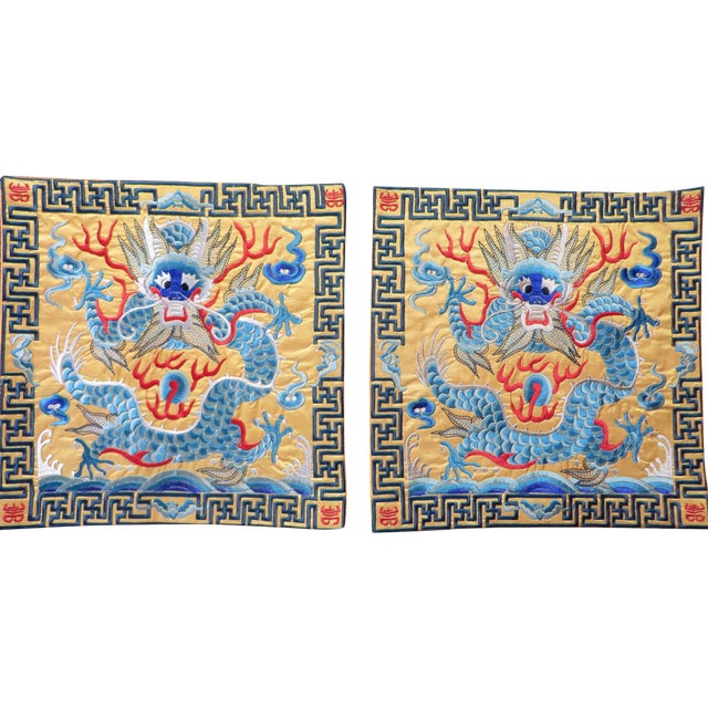 Embroidered Oriental Yellow & Blue Dragon Matts - Image 1 of 3