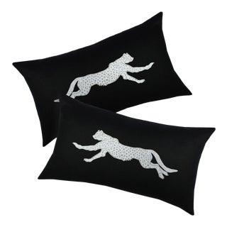 Art Deco Facing Cheetah Lumbar Pillows - a Pair