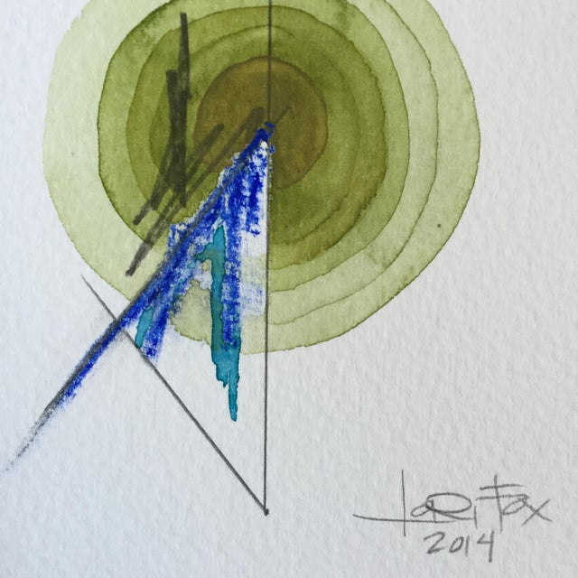 Green Single Totem Painting on Paper - Image 4 of 6