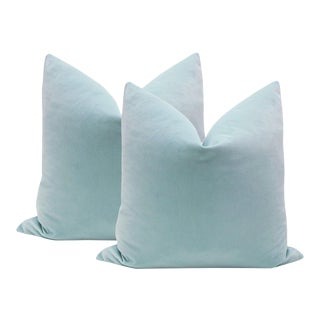 "20"" Spa Blue Velvet Pillows - A Pair"