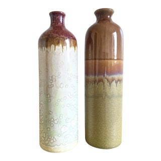 Tall Northern Lights Stoneware Vases - Pair