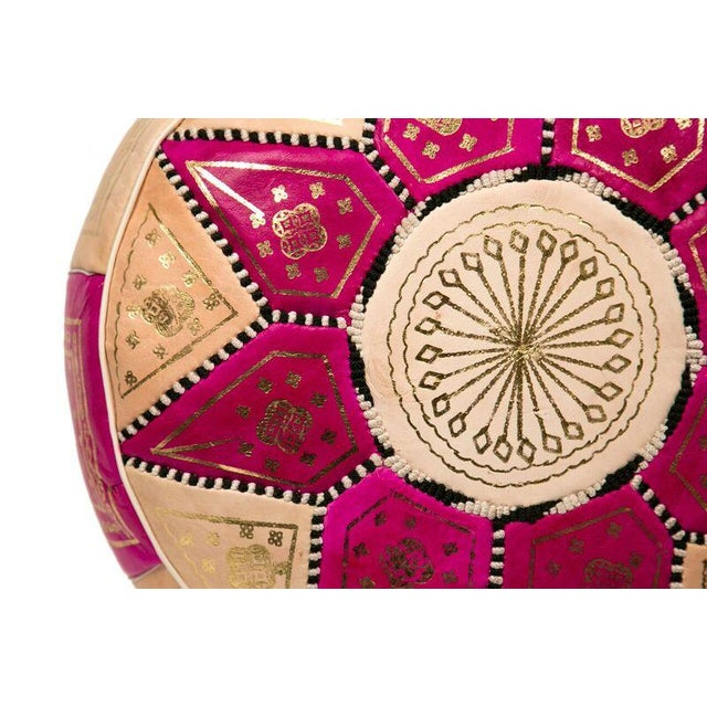 Image of Marrakech Leather Pouf in Fuchsia (Stuffed)